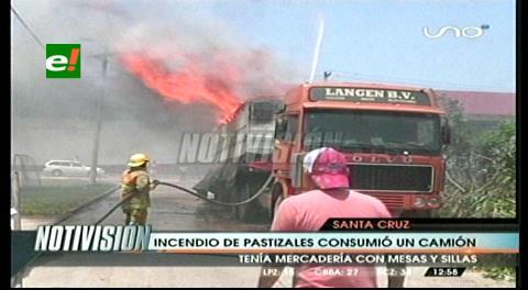Por la quema de pastizales: Se incendia un camión en zona del cuarto anillo
