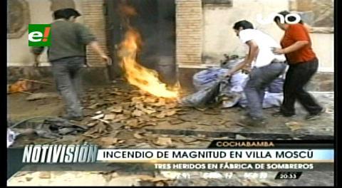 Cochabamba: Incendio destruyó una fábrica de sombreros y dejó tres heridos