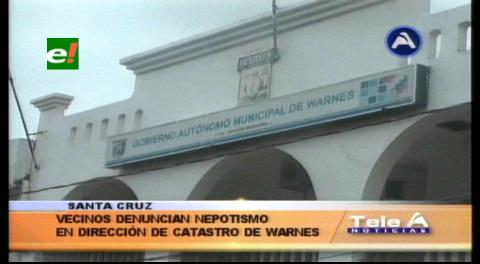 Denuncian nepotismo en la Dirección de Catastro de la Alcaldía de Warnes