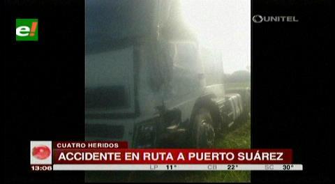 Colisión en la carretera a Puerto Suárez deja cuatro heridos
