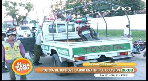 Policía de Diprove ocasiona una triple colisión