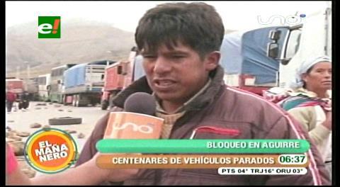 Pobladores de Aguirre continúan con el bloqueo camino nuevo a Santa Cruz y no hay solución