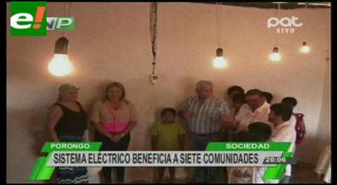 Sistema eléctrico beneficia a siete comunidades de Porongo