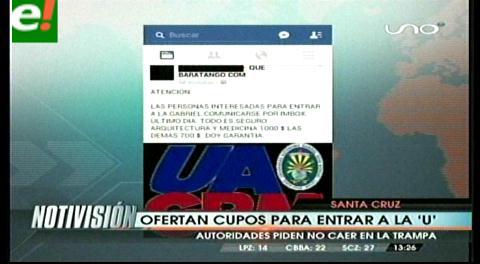 Estafa: Ofertan cupos de la Uagrm en las redes sociales