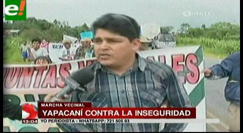 Pobladores de Yapacani marchan contra la inseguridad