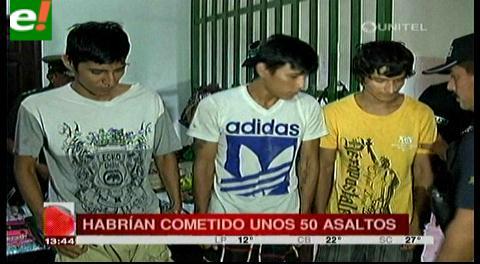 Detienen a tres supuestos delincuentes acusados de 50 atracos