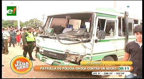 Policías heridos en colisión con micro