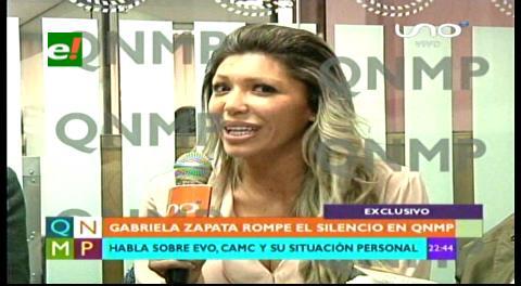 Aparece Gabriela Zapata, no aclara relación con Evo/CAMC y amenaza con juicio penal a periodistas y medios
