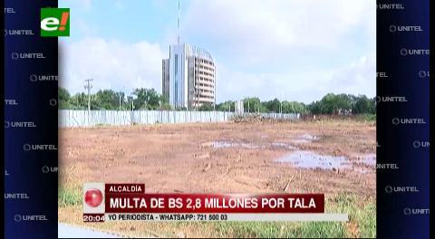 Propietario pagará una multa de Bs 2,8 millones por la tala árboles
