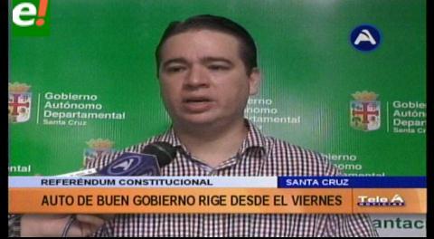 Gobernación cruceña emite auto de Buen Gobierno por referéndum
