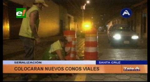 Santa Cruz: Colocan nuevos conos viales para distinguir y respetar canales de transporte público