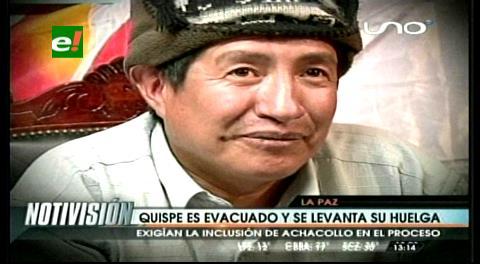 Evacúan a Rafael Quispe tras 7 días de huelga de hambre