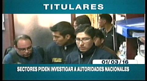 Titulares de TV: Sectores sociales afines al MAS piden investigar a las autoridades nacionales por el caso Zapata