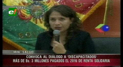 Ministra de Salud llama al diálogo a los discapacitados