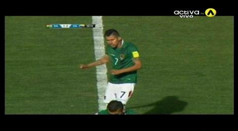 Inicio del segundo tiempo: Descuento de Arce; Bolivia 1-2 Colombia