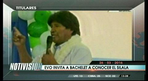 Titulares de TV: Evo Morales invita a la presidenta Bachelet a conocer el Silala