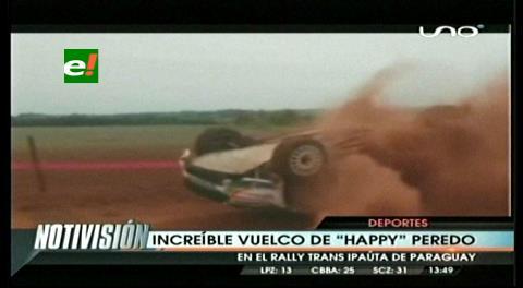 Increíble vuelco de 'Happy' Peredo en el Rally de Paraguay