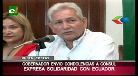 Costas expresa su solidaridad con las familias ecuatorianas