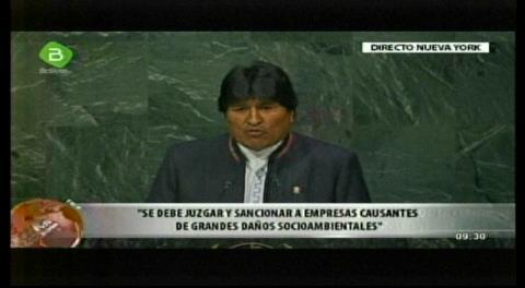 Evo arenga 'Pachamama o muerte' en ONU y pide erradicar el capitalismo