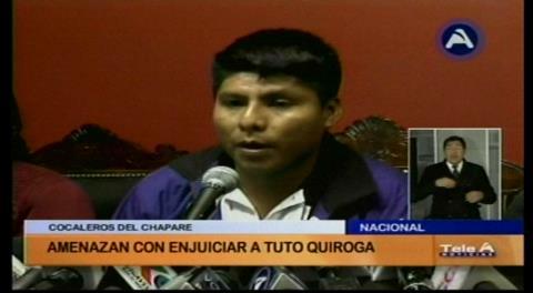 Dirigentes cocaleros advierten con juicio a Tuto Quiroga