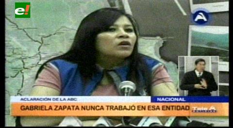 ABC asegura que Gabriela Zapata no trabajó en esa institución