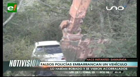 Falsos policías roban un vehículo y se embarrancan cerca de Samaipata