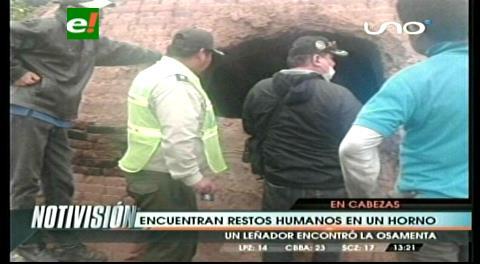 Encuentra restos humanos en un horno de barro