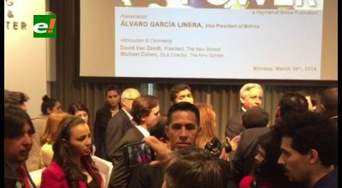 Conferencia de García Linera en Nueva York acabó en escándalo
