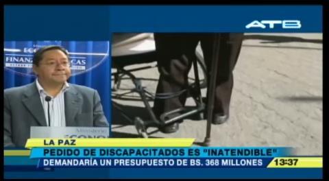 Ministro Arce asegura que pedido de discapacitados cuesta más de lo que recibe un departamento