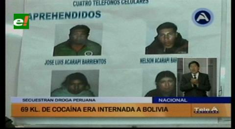 Bolivia y Perú decomisan 70 kilogramos de droga en operación conjunta
