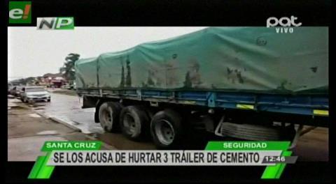 Detienen a 3 personas acusadas de robar camiones con cemento