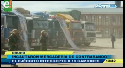 Oruro. Incautan 10 camiones con mercadería de contrabando