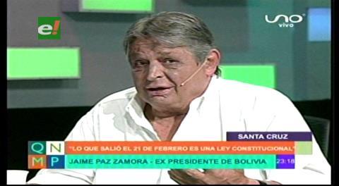 Paz Zamora: El No del 21F es ley y hay que acatar, incluido Evo
