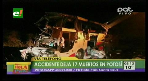 Tragedia. Al menos 17 muertos en choque de flota contra una peña en la vía Villazón-Potosí
