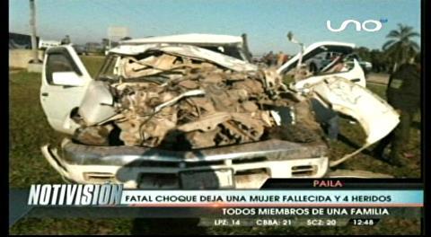 Carretera a Pailas: Accidente deja una fallecida y cuatro heridos