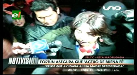 Fiscalía señala que Fortún prestó $us 5 mil para presentación del niño, ésta dice que desconocía los fines