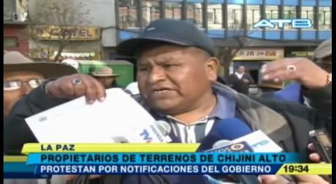 La Paz: Propietarios de terrenos protestan por notificaciones de Exfonvis