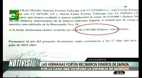 Zapata hizo un pago anticipado a las hermanas Fortún por la compra de su casa