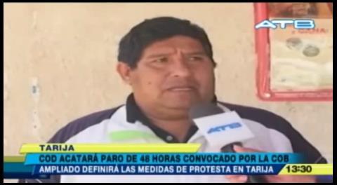 COD de Tarija acatará paro de 48 horas de la COB