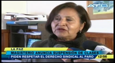 La Paz: Magisterio anuncia suspensión de clases ante paro de la COB
