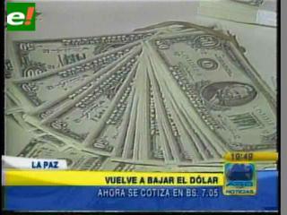 El dólar vuelve a bajar un punto, ahora se cotiza en 7.05 bolivianos