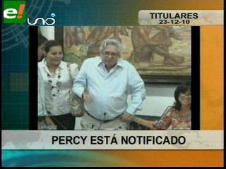 Notifican a Percy Fernández