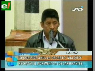 """COB exige la inmediata abrogación del """"maldito"""" decreto de Evo Morales"""