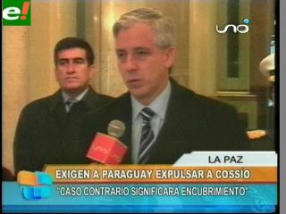 García Linera exige a Paraguay expulsar a Cossío