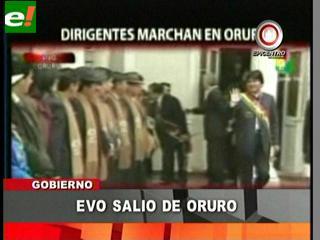 Evo abandona Oruro para evadir marcha de protesta contra alza de precios