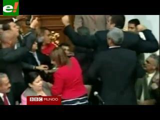 Venezuela: diputados se enfrentan a golpes en la Asamblea Nacional