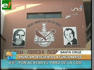Anuncian descuentos a funcionarios que acaten el paro de la COD