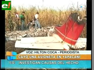 Cayó una avioneta en Yapacaní