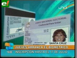 Padrón biométrico inicia el jueves 26