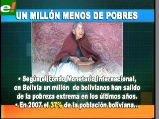 El FMI dice que se reduce la pobreza en Bolivia